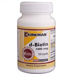 D - Biotyn 1000 mcg Hypoallergenic 120 kaps.- biotyna Kirkman