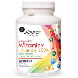 Witaminy i minerały 100% z żeń-szeniem (120 tabletek) Aliness