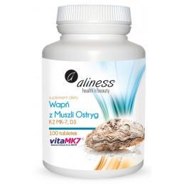 Wapń z muszli ostryg z K2 MK7 i witaminą D3 (100 tabletek) Aliness