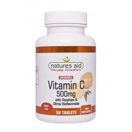 Witamina C 500 mg lewoskrętna z dziką różą i cytrusowymi bioflawonoidami (50 tabletek) Nature's Aid