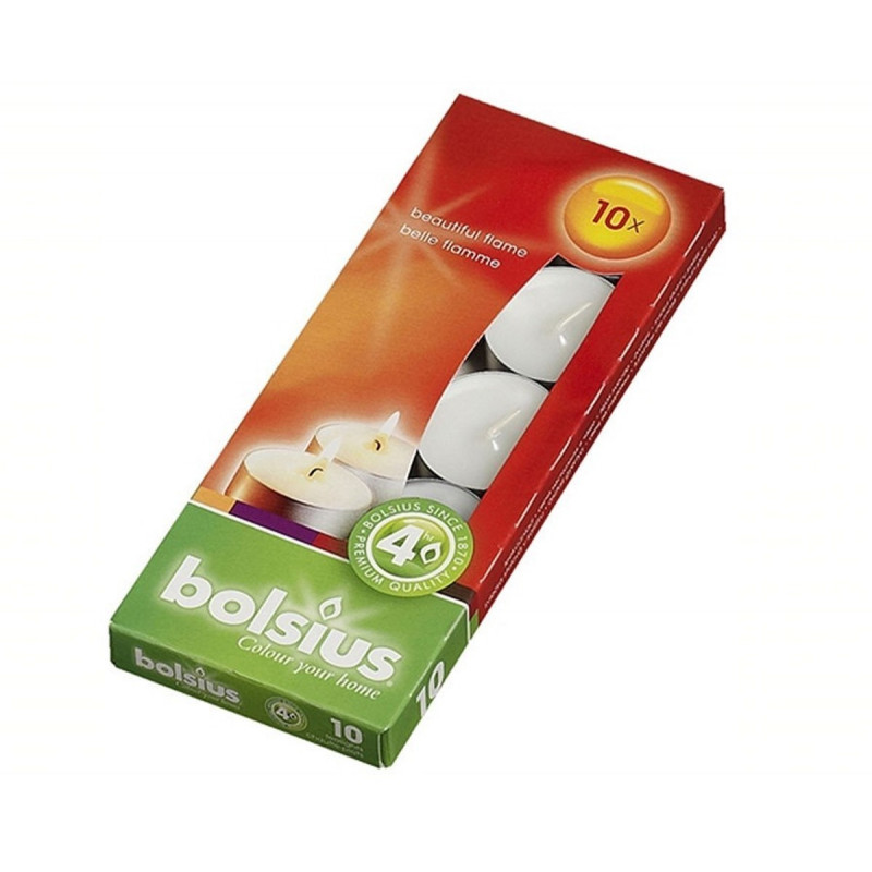 Podgrzewacze BIAŁY BOX Tealights (10 sztuk) Bolsius
