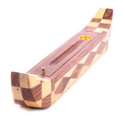 Drewniana podstawka na kadzidełka w kształcie egipskiej łódki IF174 31 x 6 x 5,5 cm Puckator