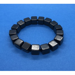 Bransoletka - szungit, kostki polerowane 8 mm - długość 15 cm