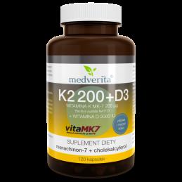 Witamina K VitaMK7® 200µg + D 2000IU (120 kapsułek) Medverita