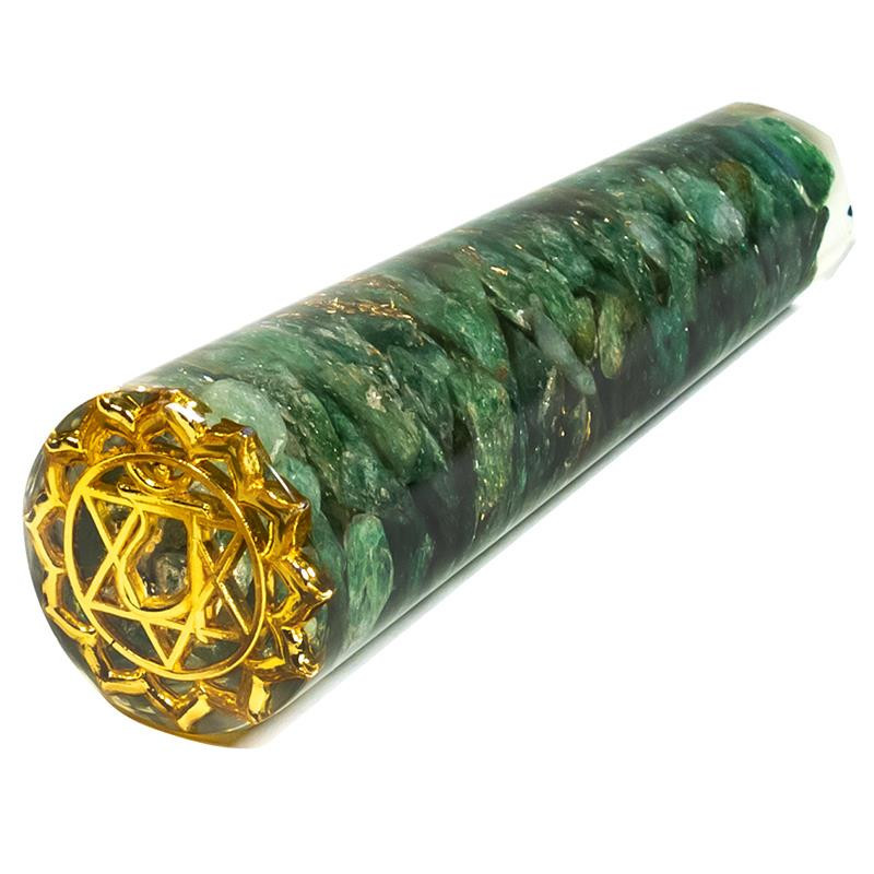 Orgonitowa różdżka do masażu z zielonym awenturynem + symbol Anahata (11 cm)