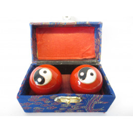 Kule do masażu czerwone z symbolem Yin Yang (3,5 cm)