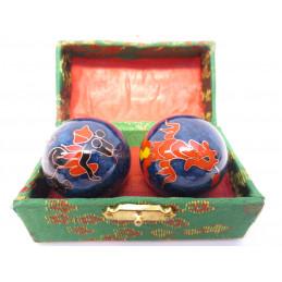 Kule do masażu niebieskie z chińskim smokiem (3,5 cm)